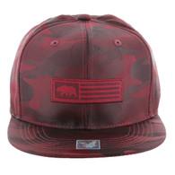 SM1007 Cali Bear Snapback Hat Cap (Solid Burgundy Camo)