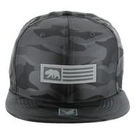 SM1007 Cali Bear Snapback Hat Cap (Solid Grey Camo)