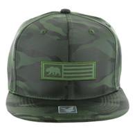 SM1007 Cali Bear Snapback Hat Cap (Solid Olive Camo)