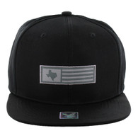 SM1007 Texas Snapback Cap (Solid Black)