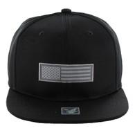 SM1007 USA Flag Snapback Cap (Solid Black)