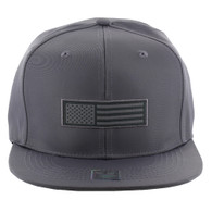 SM1007 USA Flag Snapback Cap (Solid Grey)