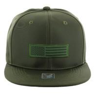 SM1007 USA Flag Snapback Cap (Solid Olive)