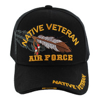 VM1005 Native Veteran Feather Air Force Velcro Cap (Solid Black)