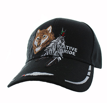 f51e85bec VM117 Native Pride Wolf Feather Velcro Cap (Solid Black) - Ace Cap, Inc.