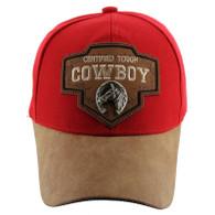 VM644 Cowboy Cotton Velcro Cap (Red & Brown)