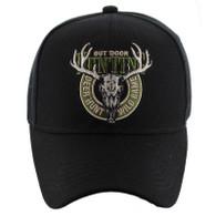 VM119 Hunting Deer Velcro Cap (Solid Black)
