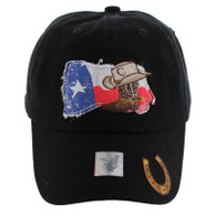 VM132 Texas Baseball Cap Hat (Solid Black)
