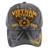 VM515 Vietnam Veteran Velcro Cap (Solid Grey Camo)