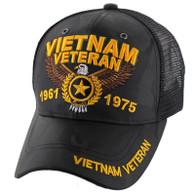 VM515 Vietnam Veteran Mesh Trucker Cap (Solid Black Camo)