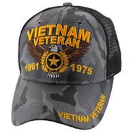 VM515 Vietnam Veteran Mesh Trucker Cap (Solid Grey Camo)