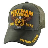 VM515 Vietnam Veteran Mesh Trucker Cap (Solid Olive Camo)