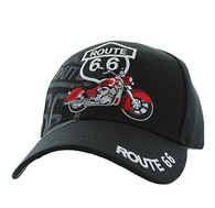 VM086 Route 66 Road Motorcycle Velcro Cap (Solid Black)