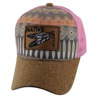 VM117 Native Feather Mesh Trucker Velcro Cap (Pattern & Light Pink)