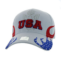 VM078 American USA Flame Velcro Cap (Solid White)
