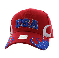VM078 American USA Flame Velcro Cap (Solid Red)