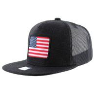 SM1005 USA Flag Snapback Cap (Solid Black)