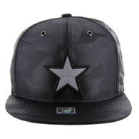 SM100 Star Snapback Cap (Solid Black Camo)