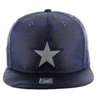 SM100 Star Snapback Cap (Solid Navy Camo)
