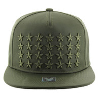 SM772 Star Snapback Cap (Solid Olive)
