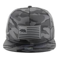 SM1002 California Bear Snapback Cap Hat (Grey Camo)