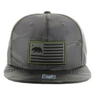SM1002 California Bear Snapback Cap Hat (Olive Camo)