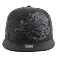 SM9034 Hecho En Mexico Eagle Snapback (Black & Black)