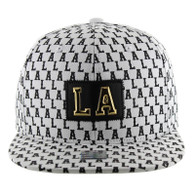 SM093  Los Angeles Snapback (Solid White)
