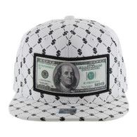 SM093 Dollar Snapback Cap (Solid White)