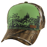 VM857 Hunting Deer Velcro Cap (Green & Camo)