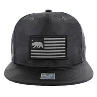SM1002 California Bear Snapback Cap Hat (Black Camo)