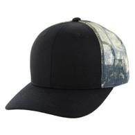K815 Blank Cotton Classic Mesh Trucker Cap (Black & Hunting Camo)