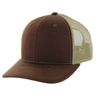 K815 Blank Cotton Classic Mesh Trucker Cap (Brown & Khaki)