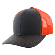 K815 Blank Cotton Classic Mesh Trucker Cap (Charcoal & Orange)