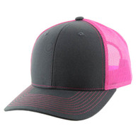 K815 Blank Cotton Classic Mesh Trucker Cap (Charcoal & Pink)
