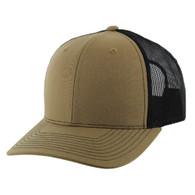 K815 Blank Cotton Classic Mesh Trucker Cap (Khaki & Black)