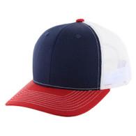 K815 Blank Cotton Classic Mesh Trucker Cap (Navy & & Red & White)