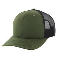 K815 Blank Cotton Classic Mesh Trucker Cap (Olive & & Black)