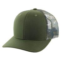 K815 Blank Cotton Classic Mesh Trucker Cap (Olive & & Hunting Camo)