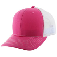 K815 Blank Cotton Classic Mesh Trucker Cap (Pink & & White)
