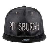 SM160 Pittsburgh Snapback (Solid Black Military Camo)