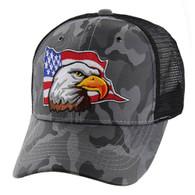 VM225 American USA Eagle Mesh Trucker Cap (Solid Grey Camo)