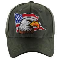 VM225 American USA Eagle Velcro Cap (Solid Olive Camo)