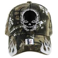 VM229 Skull Flame Velcro Cap (Solid Hunting Camo)