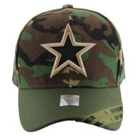 VM235 Big Star Velcro Cap (Military Camo & Olive)