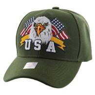VM449 American USA Eagle Velcro Cap (Solid Olive)