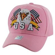 VM449 American USA Eagle Velcro Cap (Solid Light Pink)