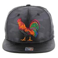SM035 Cock Snapback Cap (Solid Black Camo)