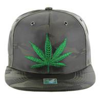 SM1002 Marijuana Snapback (Solid Olive Camo)