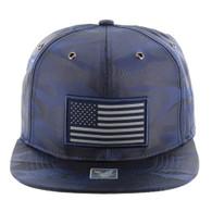 SM100 USA Flag Snapback Cap (Solid Navy Military Camo)